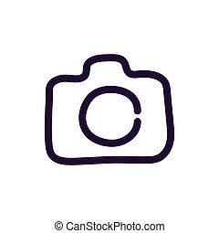 macchina fotografica, illustrazione, vettore, fondo, bianco, icona