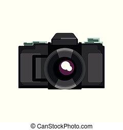 macchina fotografica, illustrazione, vettore, sfondo nero, bianco