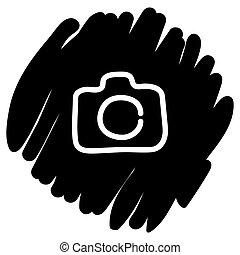 macchina fotografica, illustrazione, vettore, sfondo nero, icona