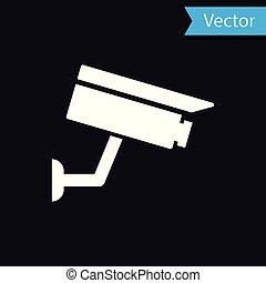 macchina fotografica, isolato, illustrazione, fondo., vettore, nero, bianco, sicurezza, icona