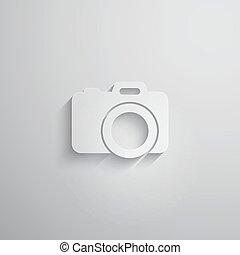 macchina fotografica, lungo, carta, vettore, illustrazione, uggia, 3d