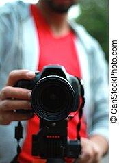 macchina fotografica, manipolazione, giovane, slr, uomo