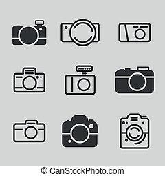macchina fotografica, moderno, icone