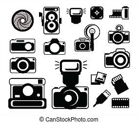 macchina fotografica, nero, icone