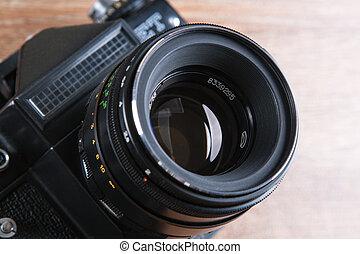 macchina fotografica, nero, retro, film, largo-angolo