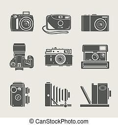 macchina fotografica, nuovo, e, retro, icona