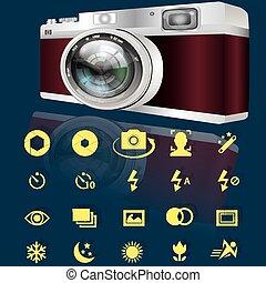 macchina fotografica, obtion, icone
