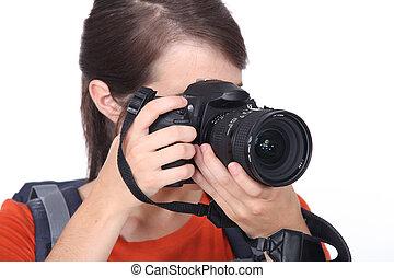 macchina fotografica, primo piano, donna