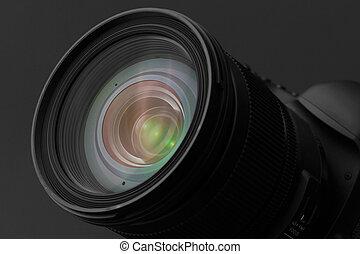 macchina fotografica, primo piano, lente