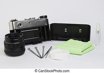 macchina fotografica, pulizia