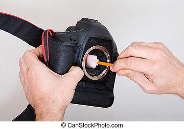 macchina fotografica, pulizia, digitale