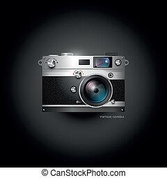 macchina fotografica, retro, icona