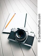 macchina fotografica, retro, quaderno