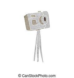 macchina fotografica, retro, treppiede, cartone animato