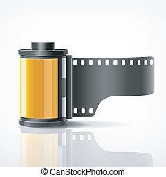 macchina fotografica, rotolo, film