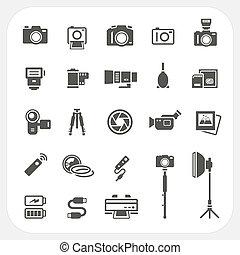 macchina fotografica, set, accessori, icone