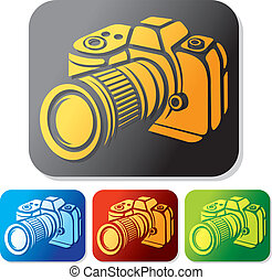 macchina fotografica, set, icona
