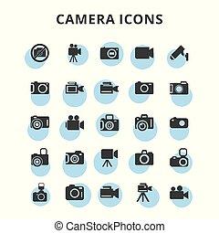 macchina fotografica, set, icone