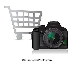 macchina fotografica, shopping, concetto