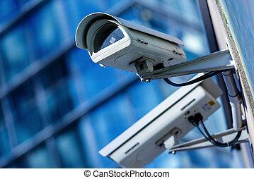 macchina fotografica sicurezza, e, urbano, video