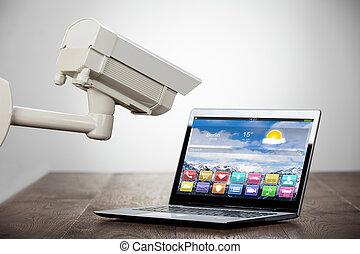 macchina fotografica sicurezza, laptop