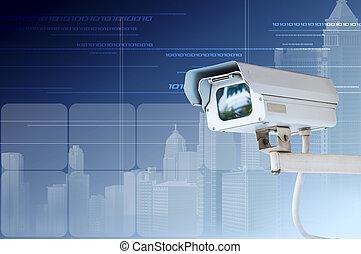 macchina fotografica sicurezza, o, cctv, su, sfondo digitale
