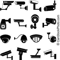 macchina fotografica sicurezza, set, icone