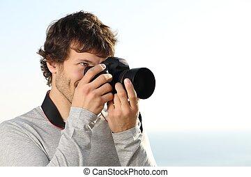 macchina fotografica slr, attraente, fotografare, fotografia