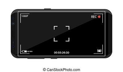 macchina fotografica, smartphone, application., moderno