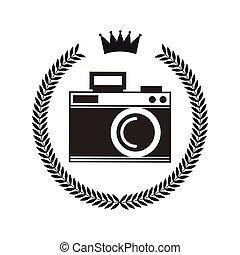 macchina fotografica, stile, ghirlanda, hipster, cornice