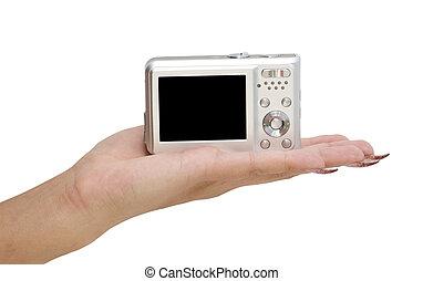 macchina fotografica, su, uno, mano