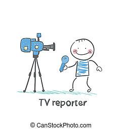 macchina fotografica tv, parla, reporter