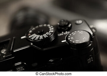 macchina fotografica vendemmia, velocità imposta, quadrante,...