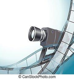 macchina fotografica vendemmia, video, fondo, filmstrip