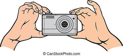 macchina fotografica, vettore, mani