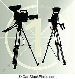 macchina fotografica video digitale, su, il, treppiede, e,...