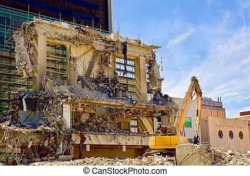 macchina, frantoio, luogo demolizione, scavatore