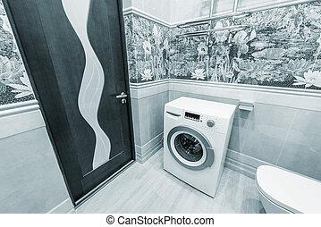 macchina, gabinetto, bowl., lavaggio