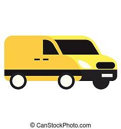macchina gialla, appartamento, illustrazione