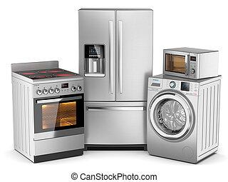 macchina, gruppo, stufa elettrica, casa, forno, isolato, microonda, appliances., fondo, frigorifero, lavaggio, bianco, argento, 3d