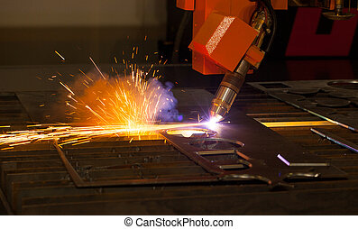 macchina, industriale, taglio, plasma