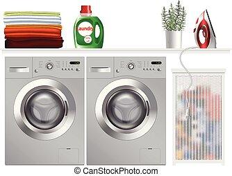 macchina, lavaggio, moderno, stanza bucato