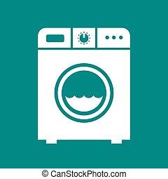 macchina, lavare, icona