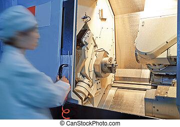 macchina, lavorante, attrezzi, cnc, operazione