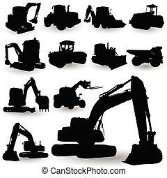 macchina, lavoro costruzione, silhouette