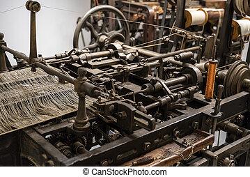 macchina, produzione, heddles., cotone