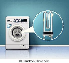 macchina, protezione, lavaggio, composizione
