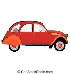 macchina rossa, su, uno, bianco