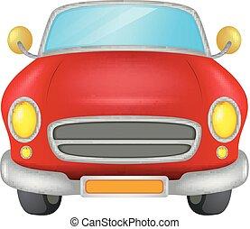 macchina rossa, su, uno, sfondo bianco