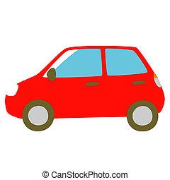 macchina rossa, vista laterale